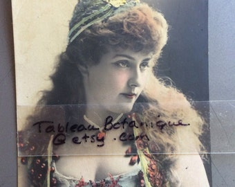 Antique Photo Postcard - Victorian Woman - B J Falk Photographer