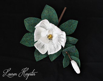Custom Southern Magnolia, French Beaded Flower Stem, Wedding flowers, White Flower Sculpture, Floral Arrangement, Home Decor, Made To Order