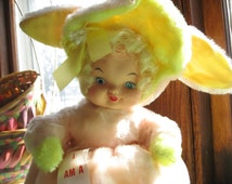 1960s Bunny Girl! - Rubber Face Doll Toy - Beautiful Condition - Darling Pajama Bag - Vintage Easter Display