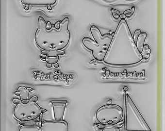 Inkadinkado Brand Clear Acrylic Stamp Set  --  NEW --  Baby Love  --  (#1663)