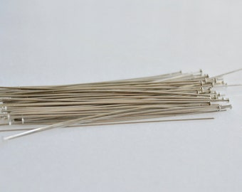 DESTASH - Silver Flat Headpins - 3 inches - White Brass - 21 gauge - Clearance - Sale