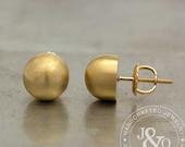 Gold Stud Earrings Round Stud Earrings / Vintage Style 8mm Stud Earrings in 14k Yellow Gold