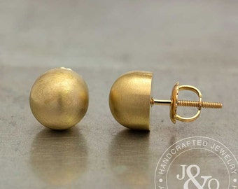 Yellow Gold Stud Earrings - Gold Ball Earrings - Gold Ball Stud Earrings - Gold Round Stud Earrings - Bullet Earrings