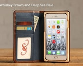 The Luxury Book Case for iPhone 7 Plus - Whiskey Brown and Deep Sea Blue