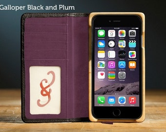 The Luxury Book Case for iPhone 7 Plus - Galloper Black and Plum