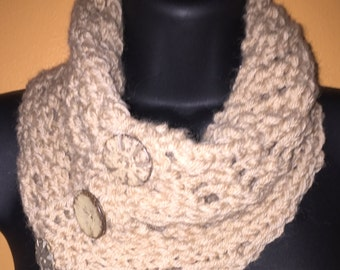 Camel colored cowl and fingerless gloves set