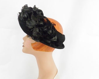 1940s vintage hat, black feather open crown hat