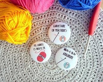 Crochet and yarn badges, set of 3, catalan sentences, crocheters pinback buttons