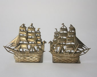 Vintage Brass Clipper Ship Bookends, Pair