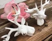 Drawer Pulls, Drawer Knobs, White Shabby Chic Knobs, Deer Drawer Pulls, Deer Drawer Knobs, Deer Decor - Set of 2