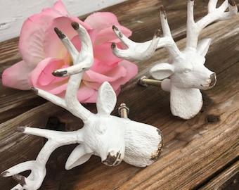 Deer Drawer Pulls/ Drawer Pulls/ Drawer Knobs/ White Shabby Chic Knobs/ Deer Drawer Pulls/ Deer Drawer Knobs/ Deer Decor - Set of 2
