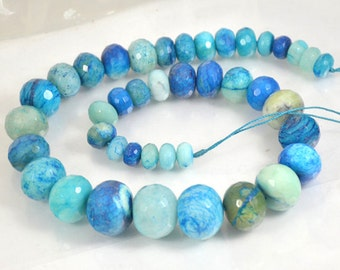 Faceted Rondelle Blue Jade Beads 10mmx19mm Large Gemstsone Bead Full One Strand 15.5""