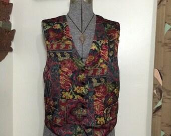 Vintage 90s Tapestry Print Vest / Casual Corner / Burgundy Dark Green / Size L