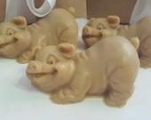 3 Pig Soap - Party favor, hostess gift, pig gift set, cream pig soap