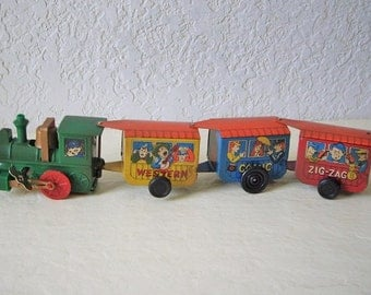 Toy Wind-up Train, Zig-Zag Comic Express, Works good.