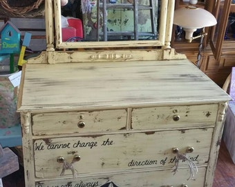 NAUTICAL OOAK Ivory Wood Distressed Buffet Sideboard Dresser Mirror Rustic Vintage Shabby Chic Beach Cottage Salvaged Refinished Whagn