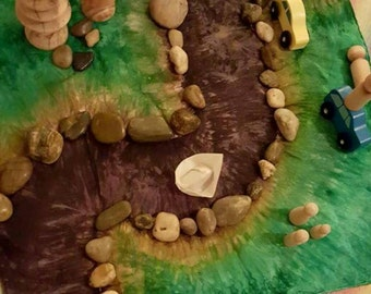 Dirt Road Playsilk ~ Play Mat  ~ Hand Dyed ~ Waldorf Inspired!
