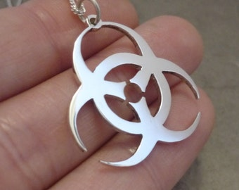 Sterling Silver Simple Biohazard Symbol Pendant on chain