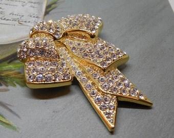 NOLAN MILLER Gold Rhinestone Pavé Bow Brooch