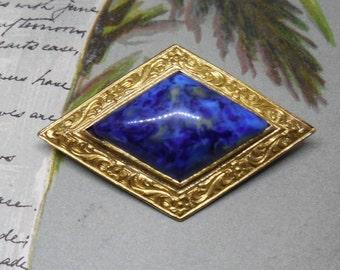 Vintage 1920s Czechoslovakian Blue Diamond Shape Brooch