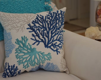 Beach Decor Sea Fan Throw Pillow - Coastal Decor