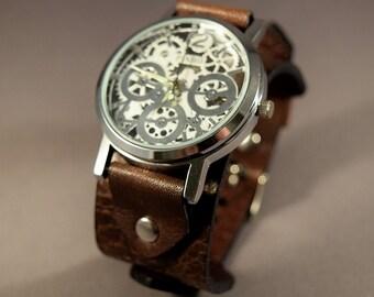 Leather Watch-Steampunk Watch-Cuff Watch-Men Watch-Women Watch-Gifts-Skeleton Watch-Gift for Men-Gift for Her-Gifts-Wrist Watch-Watches