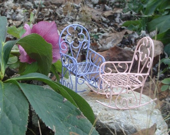 Miniature Purple or Pink Metal Rocking Chair, Fairy Garden Accessories