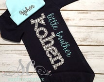 Little Brother Newborn Coming Home Outfit - Baby Gown - Beanie Burp Cloth - Mint Chevron Navy Boy Sleeper - Baby Boy Bodysuit