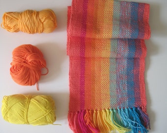 Handwoven scarf 'Tropical Fruits', bright colors, Kids scarf