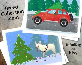 French Bulldog Christmas Cards from the Breed Collection - Digital Download  Printable