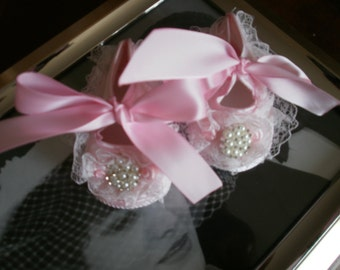 Satin Pink Baby Shoes ,Christening and Baptism, Crib Shoes, Newborn, Fancy Shoes, First Shoes, Elegant, Satin Shoes, Embellish Shoes, Shoes