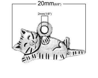 25pcs. Antique Silver Cat Laying Charms Pendants - 20mm X 11mm