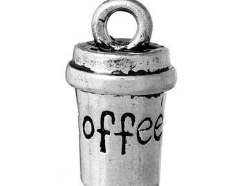 """10pcs. Antique Silver Coffee Cup Mug Carved with """"Coffee"""" written on it - Charms Pendants - 15mm X 8mm"""