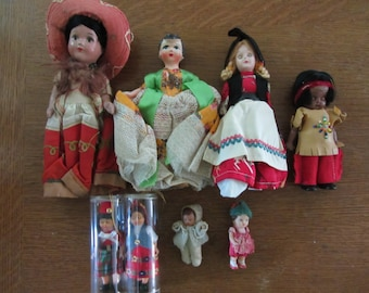International Souvenir Dolls - 3in to 11 1/2in - 2 are in original packaging - 7 dolls total