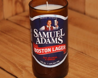 Hand Poured Soy Candle in Handmade Upcycled Sam Adams Boston Lager Glass made from a 12oz bottle