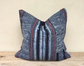 """Vintage Cotton Tribal Hand Print Patch Work Pillow Case 20"""" x 20"""" Pieces Of Retro Hmong Tribal Costume"""