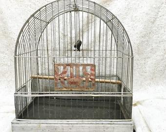 Vintage Birdcage Hendryx Domed Metal bird cage