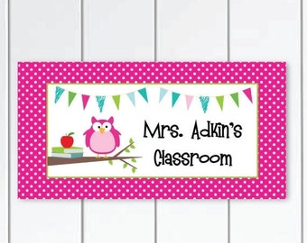 ON SALE On sale this week Teacher-Door-Sign-owl-themed- pink and-white-polka-dots-themed-class-door-plaque