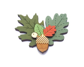Autumn leaves brooch - hand painted laser cut brooch
