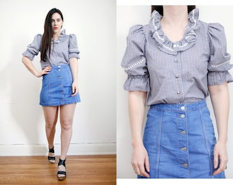 Vintage Gingham Plaid Checked Frill Western Boho Cotton Blouse Shirt 70s