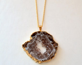 Agate Necklace, Large Geode Pendant, Gold Filled Rolo Chain, Brown, OOAK Simple Bold Jewelry, Free Shipping