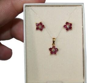 14kt Gold Flower Earring Necklace Set Ruby Diamonds - Vintage Deadstock Jewelry Original Packaging