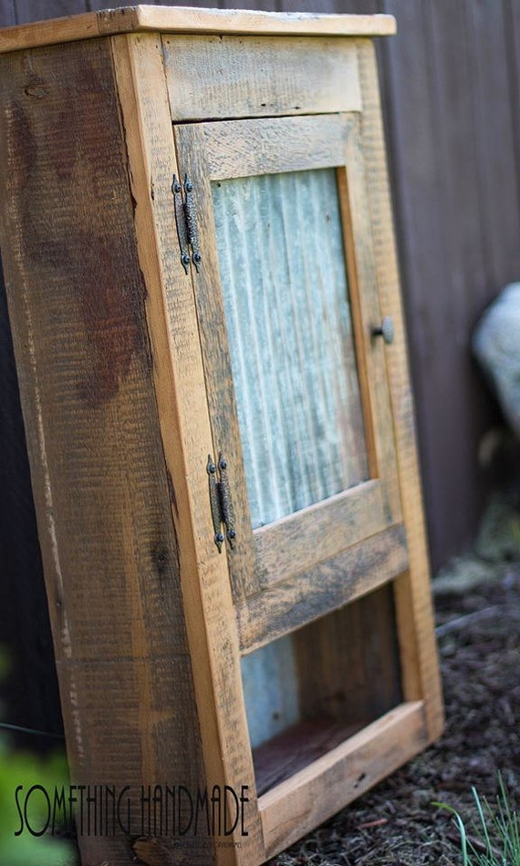 Rustic Barn Wood Cabinet With Corrugated Steel Made By