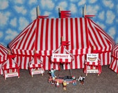 HO Scale Circus Big Top Tent Set - Red and White Stripe