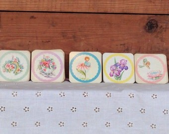 Vintage Antique 1940's Paper Baby Shower Themed Boxed Coasters Set of 50