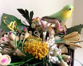 Vintage Millinery in Wood Berry Basket #2 . Green Finch & Rare Tiny Hummingbird . Pips Peps . Stamens . France . Germany . Japan . Old Stock