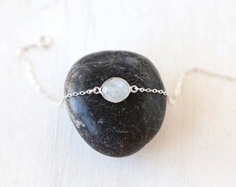 Starlight Bracelet // Sterling Silver Moonstone Bracelet / Sterling Silver everyday delicate modern jewelry