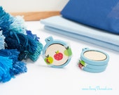 light blue mini embroidery hoop 1 inch tiny miniature decorative earring pack