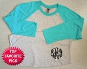 Monogrammed Raglan Shirt Baseball Shirt Women's 3/4 sleeve Personalized MANY many colors to choose from PRE-ORDER