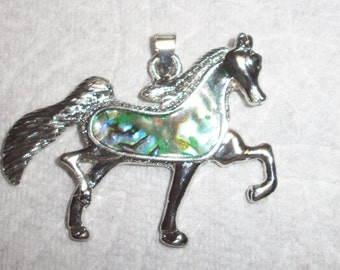 Silver and Abalone shell horse pendant